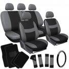 New 21pc Set Seat Cover For Van w/Steering Wheel/Pads/Head Rest/Floor Mat