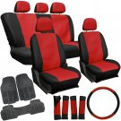 20pc PU Faux Leather Red Black Seat Cover Set + Heavy Duty Rubber Floor Mat 1D