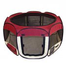 New Medium Burgundy Pet Dog Cat Tent Playpen Exercise Play Pen Soft Crate