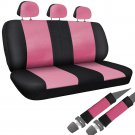 Car Seat Cover Pink Black 8pc Set Bench for Auto and Belt Pads Synthetic Leather
