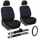 9 Piece Blue and Black Front Car Seat Cover Set Bucket Chairs with Wheel Cover