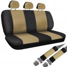 SUV Seat Covers for Ford Expedition 8pc Bench Set Tan Black Faux Leather