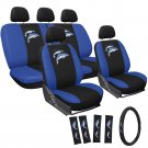 Car Seat Covers for Kia Soul Embroidered Blue Dolphin Logo with Steering Wheels
