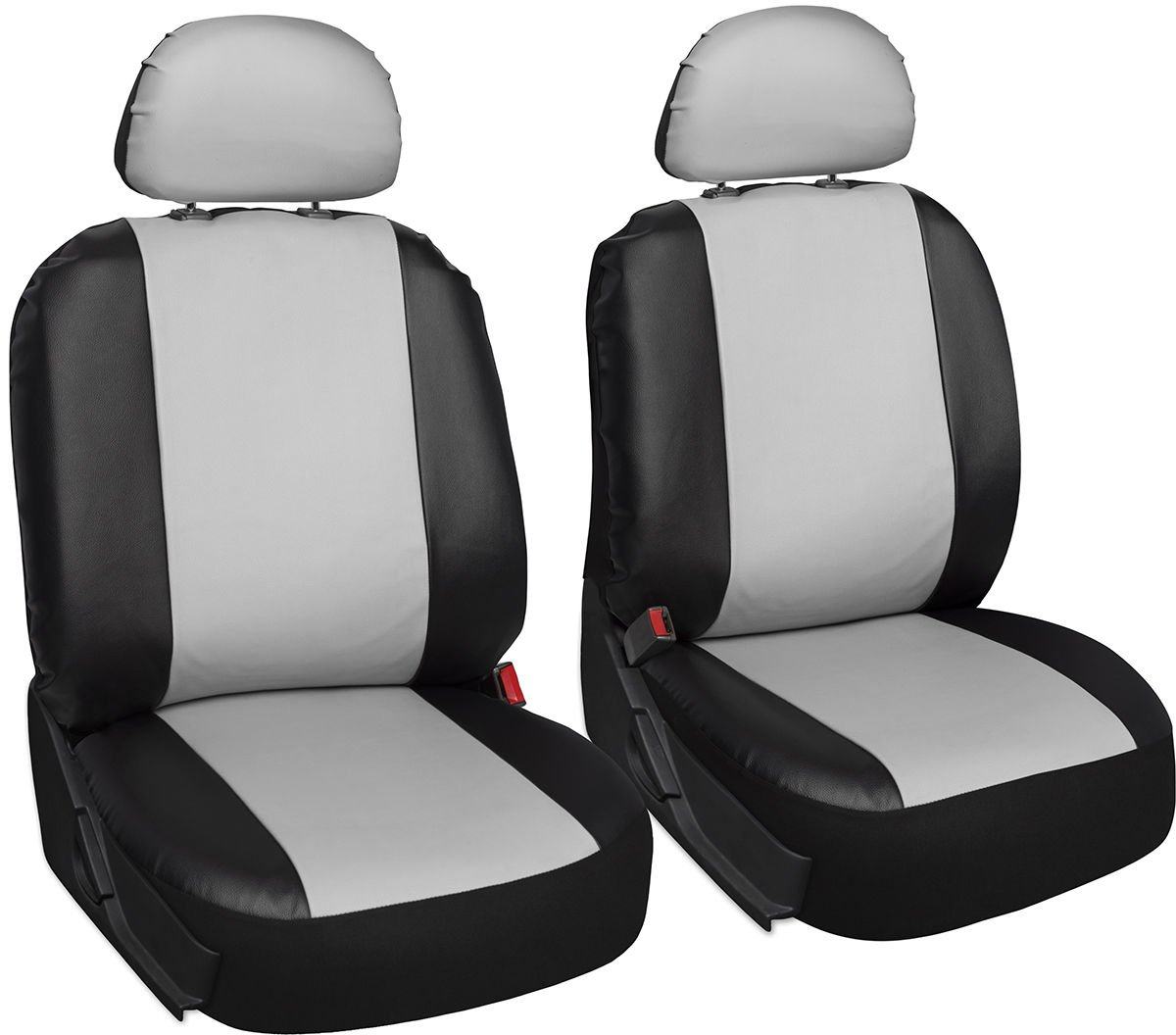Faux Leather White Black Seat Bucket for Toyota Tacoma w/Detachable Head Rests