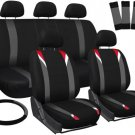New Seat Covers for Cars Red Gray Black 17pc Set w/Steering Wheel/Belt