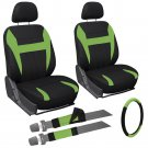 9 Piece Green Black Front Car Seat Cover Set Bucket Chairs with Steering Wheel