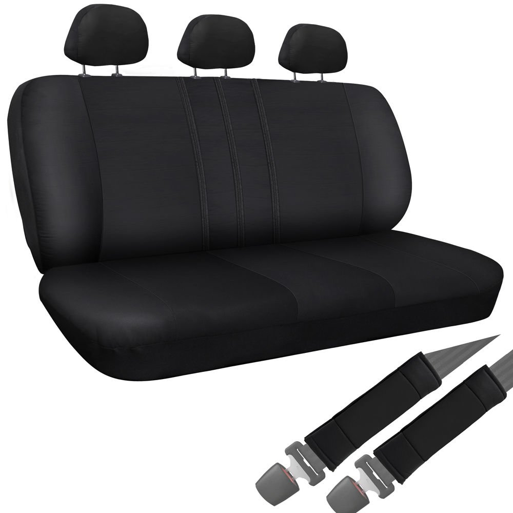 Car Seat Cover Black 8pc Set Bench for Auto w/Belt Pads Synthetic Leather