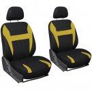 Car Seat Cover Yellow Black 6pc Bucket for Auto w/Detachable Head Rest Mesh