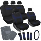 20pc Set Blue Black Car Seat Cover Wheel Cover + Head Rests + gray Floor Mats 1D