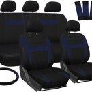Car Seat Covers for Hyundai Sonata Blue Black Steering Wheel/Belt Pad/Head Rests