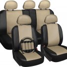 Faux Leather Seat Cover for Jeep w/Steering Wheel/Head Rest Solid Tan & Black