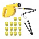 16ft Yellow Retractable Dog Leash w/ 60 Biodegradable Poop Bags & Flash Light