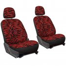 6pc Zebra Red and Black Animal Print Low Back Front Bucket SUV Seat Covers Set