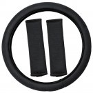 Black Memory Foam Steering Wheel Cover for Car Truck Van SUV Non-Sllip Grip