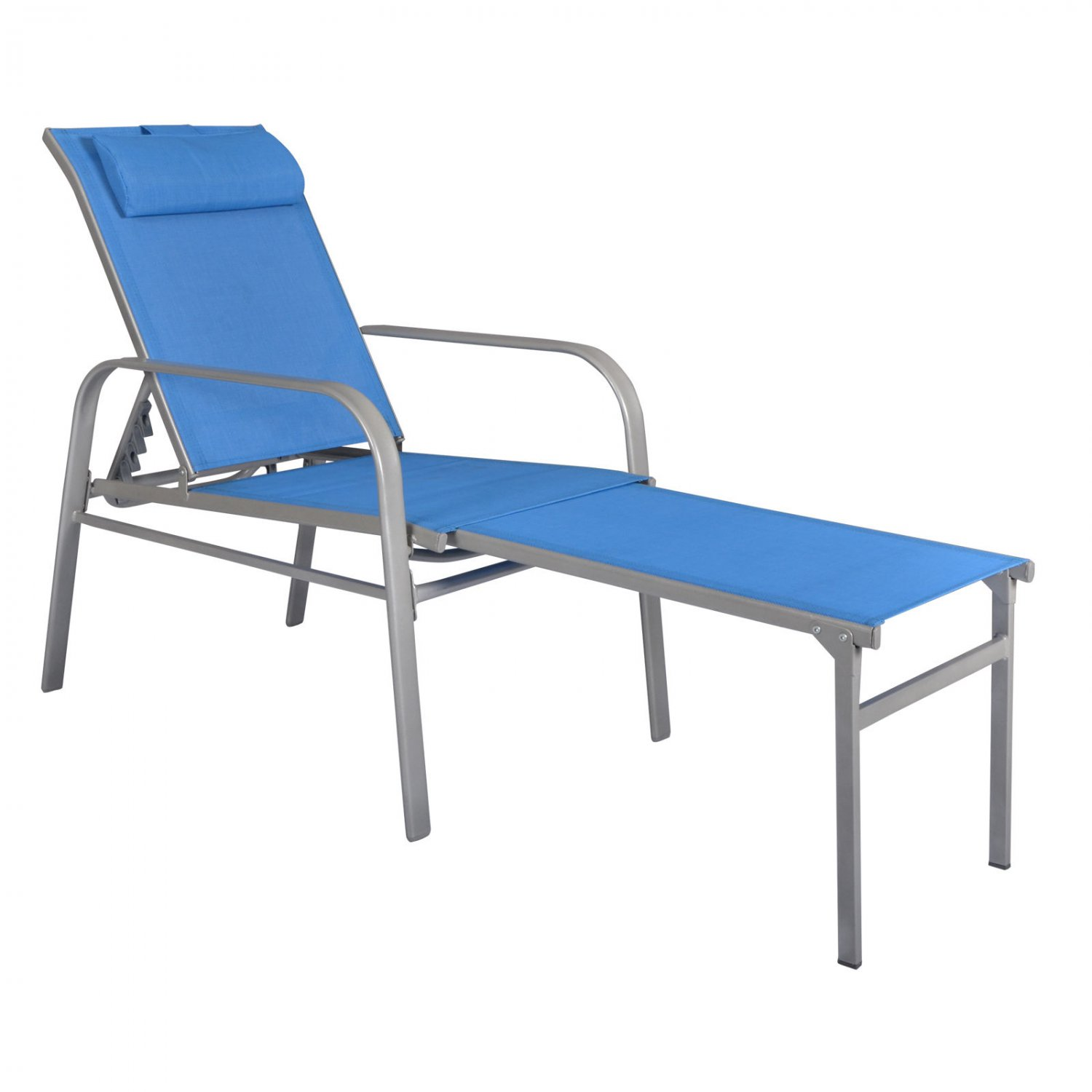 Adjustable pool chaise lounge chair recliner outdoor patio for Adams 5 position chaise lounge white