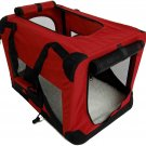 "42"" Burgundy Portable Pet Dog House Soft Crate Carrier Cage Kennel w/Carry Case"