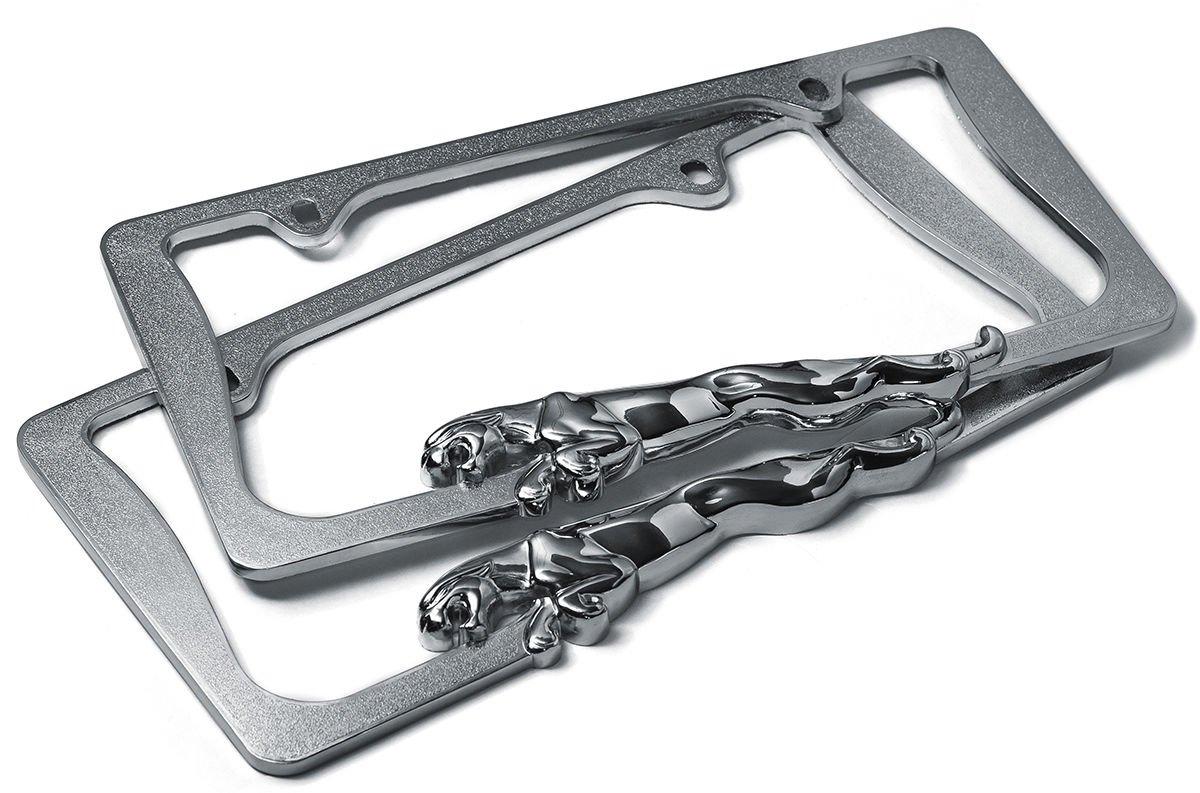 Metal License Plate Frame Jaguar Panther Chrome Stainless Steel 3D Tag Holder 1B