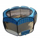 Large Blue Grid Pet Dog Cat Tent Puppy Playpen Exercise Pen Kennel