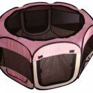 New Large Pink Grid Pet Dog Cat Tent Playpen Exercise Play Pen Soft Crate