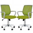 2 PCS Mesh Computer Office Desk Task Mid Back Task Chair w/Metal Base H27 Green