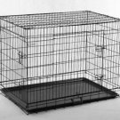 """New 42"""" 3 Doors Wire Folding Dog Crate Cage Kennel w/Metal Pan Free Divider"""