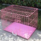 "New Pink 48"" 2 Door Pet Cage Folding Dog Cat Crate Cage Kennel w/ABS Tray"