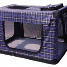 """36"""" Blue Plaid Portable Pet Dog House Soft Crate Carrier Cage Kennel Free Carry"""