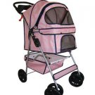 Pink Grid 4 Wheels Pet Dog Cat Stroller with RainCover