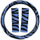 Zebra Print Blue Steering Wheel Cover Universal Fit for Car Truck Van SUV Auto