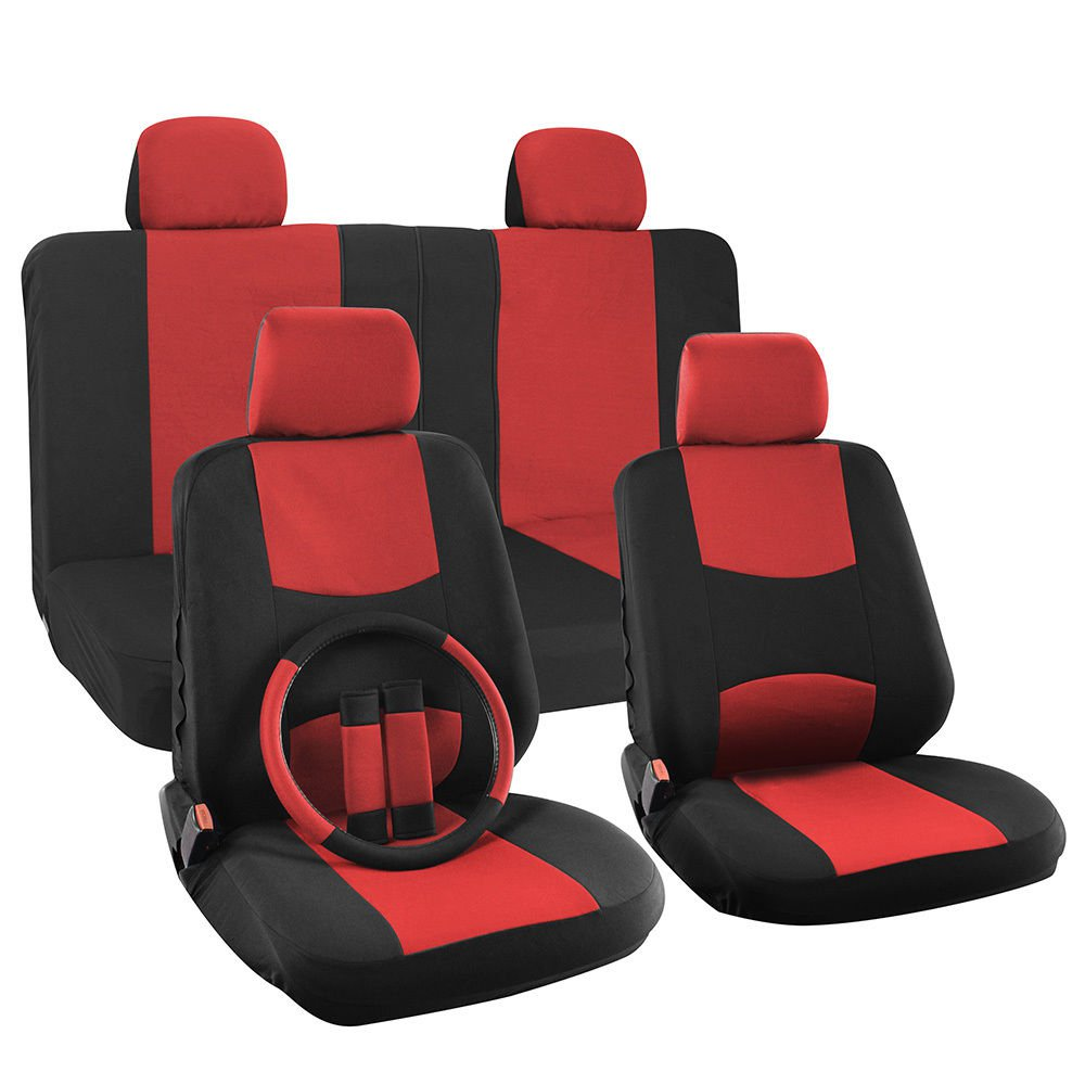 car seat cover for kia optima solid red with steering wheel belt pad head rest. Black Bedroom Furniture Sets. Home Design Ideas
