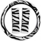 Animal Print Zebra Steering Wheel Cover w/Seat Belt Pads for Car Truck Van SUV