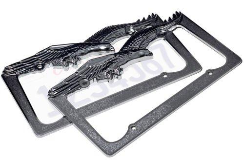 2pc OxGord Metal License Plate Steel Frame USA Eagle Hawk Bird Car SUV Van Truck