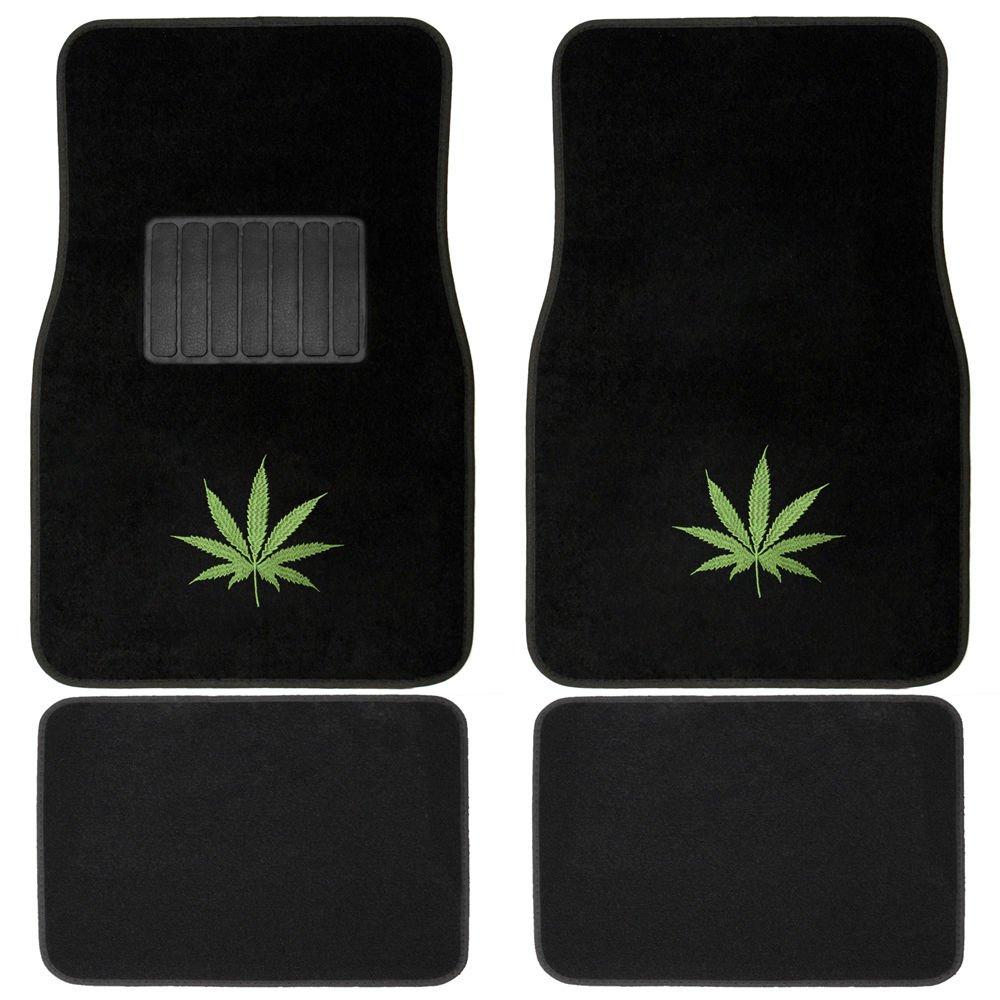 Car Floor Mats For Auto 4pc Set Green Marijuana Leaf W