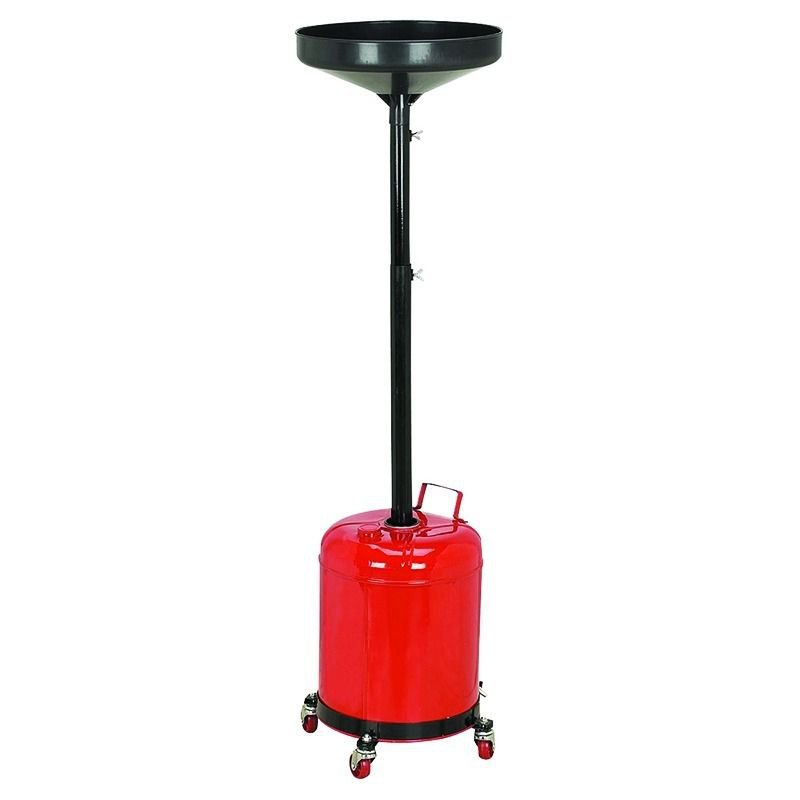 5 GAL Oil Drain Pan Waste Portable Gallon Tank Dolly Draining Funnel Adjust Lift