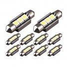 10x Xenon White 6418 CANBUS 5050LED Interior/License Plate Lights Bulbs Festoon