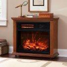 Large Room Electric Quartz Infrared Fireplace Heater Deluxe Mantel Oak / Walnut