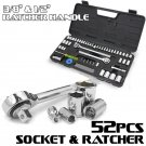 "New 52PC Racket Socket Set SAE Metric 1/4"" 3/8"" 1/2"" Drive Case Mechanics Tools"