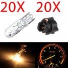 20x T5 White Halogen Bulbs W/Socket For Cluster Panel Dashboard Lights For Honda