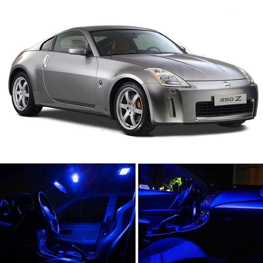 7pcs Luxury Blue LED Light Full Interior Package Kit For Nissan 350Z 2003-2008