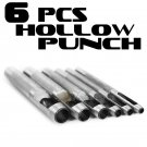 """6PCS Hollow Punch Pin Leather Gasket 1/8"""" to 3/8"""" Precision Set Cutters Gaskets"""