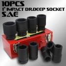 "New 10pc 1"" Black Impact Deep Sockets Set Size 3/4"" to 1 5/8"" Mechanic Tools SAE"