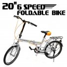 """New 20"""" Folding Bicycle 6 Speed Sport Shimano Fold Frame Silver Cycling Foldable"""