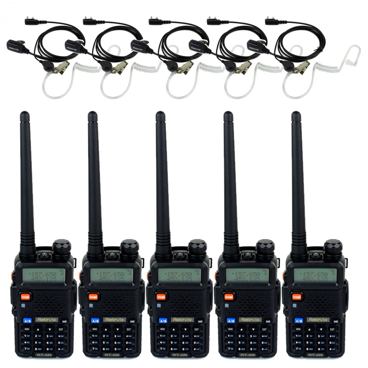 5x Retevis Walkie Talkie RT-5R FM VHF/UHF 5W 128CH Ham Radio+ 5x Earpieces