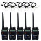 5x Retevis Walkie Talkie RT-5R FM VHF/UHF 5W 128CH Ham Radio+ 5x Earpieces