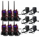 6 X Walkie Talkie Retevis RT5 128CH VHF/UHF 2 Way Radio+ 6 X PTT Speaker Mic