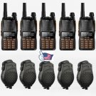 5x Baofeng GT-5 V/UHF 136-174/4??00-520MHz Ham Two-way Radio + Dual PTT Speaker