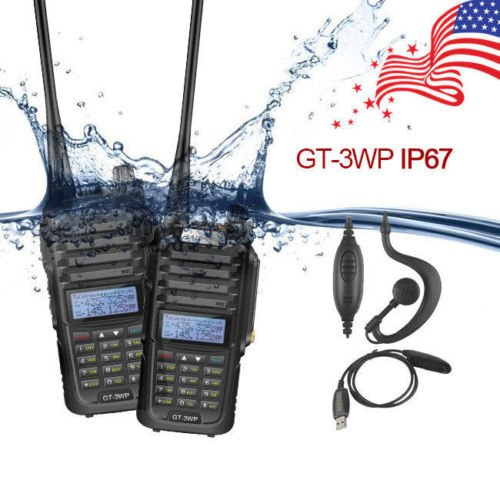 2x Baofeng GT-3WP V/UHF Ham FM Two-way Radio Waterproof IP67 + Programming Cable