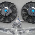 "2 × 9"" inch Universal Electric Radiator RACING COOLING Fan + mounting kit Black"
