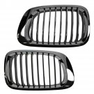 Chrome & Black Upper Grille Grill Set Pair for BMW 3 Series 2 Door E46