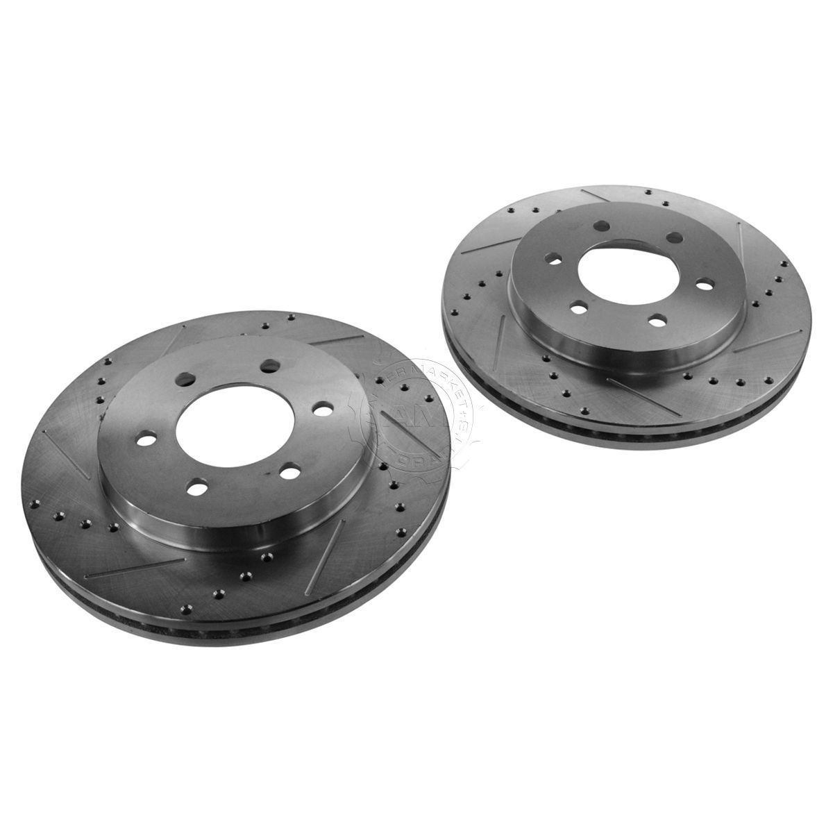 New Nakamoto Performance Drilled & Slotted Front Zinc Coated Disc Brake Rotor Pair